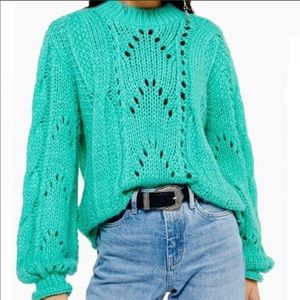 Topshop thick teal Tiffany blue sweater 8-10 size